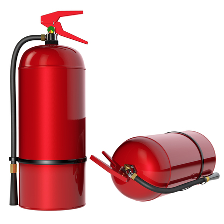 extinguishers: Fire extinguishers isolate on white background. 3D rendering.