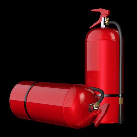 extinguishers: Fire extinguishers isolate on black background. 3D rendering. Stock Photo