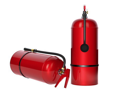 fire extinguishers: Fire extinguishers isolated on white background. Detailed illustration. 3D rendering.