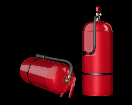 fire extinguishers: Fire extinguishers isolated on black background. Detailed illustration. 3D rendering.