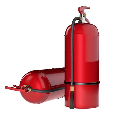 fire extinguishers: Fire extinguishers isolate on white background. Detailed illustration. 3D rendering.