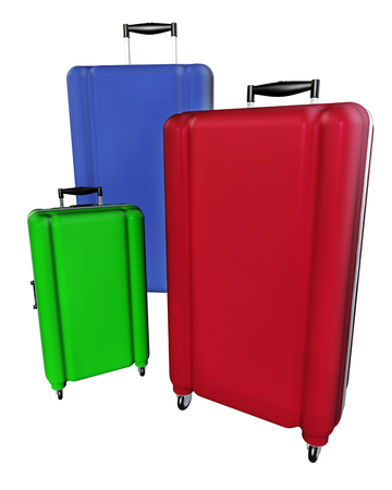 large family: Large family polycarbonate luggages isolated on white background. 3D rendering.