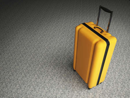 stone floor: Large family polycarbonate luggage on stone floor background. 3D rendering. Stock Photo