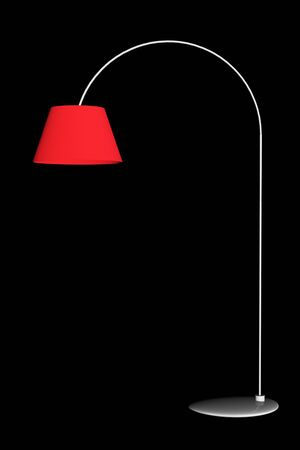 floor lamp: Red floor lamp isolated on black background. 3D rendering. Stock Photo