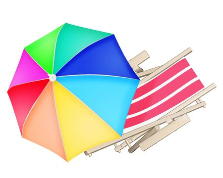 deck chair: Wooden beach deck chair and colourful umbrella isolated on white background. 3D illustration.