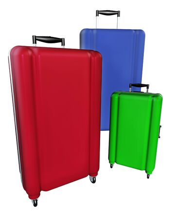 polycarbonate: Large family polycarbonate luggages isolated on white background. 3D rendering.