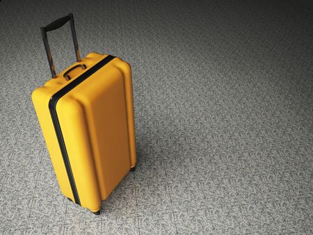 polycarbonate: Large family polycarbonate luggage on stone floor background. 3D rendering. Stock Photo