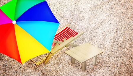 multy: Beach chair, table and multy colored umbrella on sandy beach. Vacation. Travel. Top view. 3D illustration.