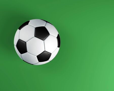 Soccer ball with shadows on green background. 3D illustration.