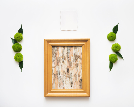 Wooden Frame With Collage Of Birch Bark And Paper With Decoration ...