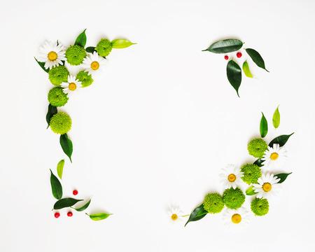 カモミールと菊の花、イチジク葉、白背景に熟したナナカマドからリース フレーム。オーバーヘッドのビュー。フラットが横たわっていた。