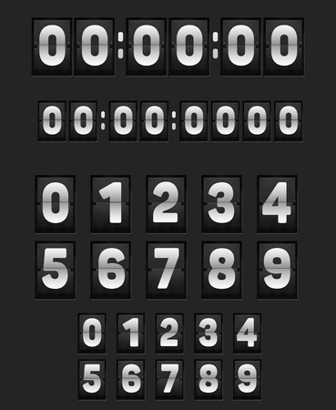 scoreboard timer: Wall flipping clock like airports panels or alarm or countdown timer and set of flip narrow scoreboard numbers. 3D illustration.