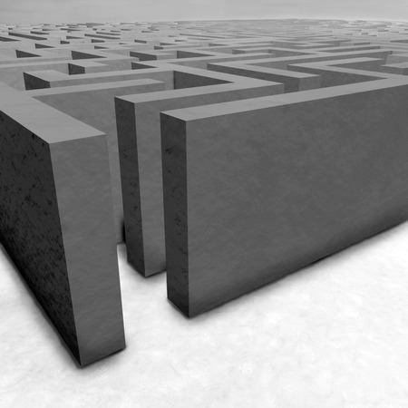 decisionmaking: Maze on gray background. Concept for decision-making. 3d illustration.