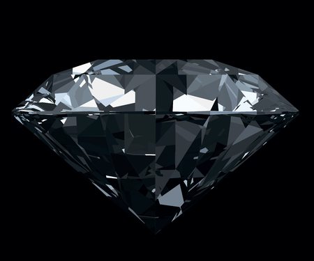 dazzling: Dazzling, classic, photo realistic diamond isolated on black background. Vector illustration. Illustration