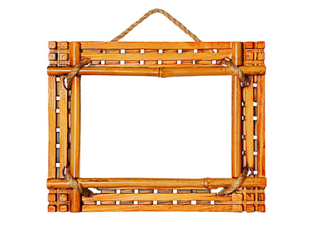Bamboo photo frames isolated on white background. Closeup.