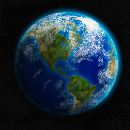 detailed image: Earth from space showing North and South America. Detailed image. Stock Photo