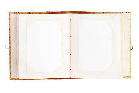 photo album: open old photo album with place for your photos isolated on white background