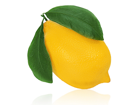 Fresh lemon citrus fruit with green leaves isolated on white background.