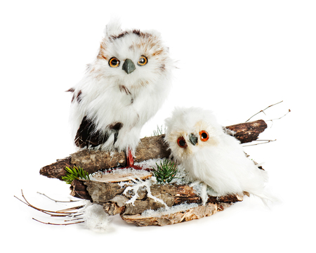 pine needles: Two owls on a wooden base with snow, pine needles and snowflakes. Completely handmade.