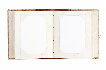 single story: open old photo album with place for your photos isolated on white background