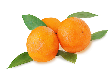 Fresh tangerines with green leaves isolated on white background. Closeup.