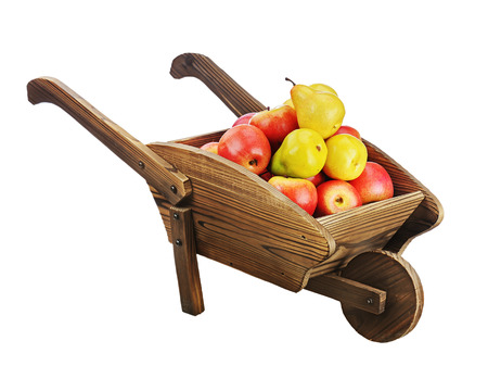 pushcart: Red apples and pears on wooden pushcart isolated on white background. Closeup.