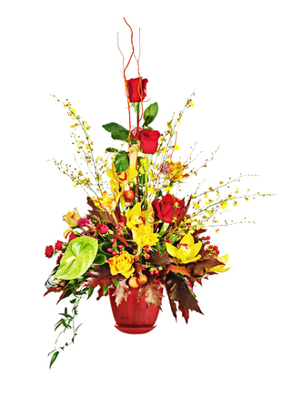 contrast floral: Colorful flower bouquet arrangement centerpiece in vase isolated on white background. Closeup. Stock Photo