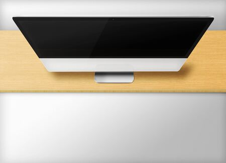 front desk: Modern computer monitor with black screen on wooden desk and grey background. Front view from the top. 3D illustration.