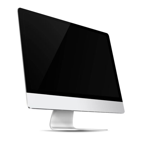 flat screen: Modern flat screen computer monitor with empty screen isolated on white background. 3D illustration.