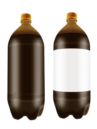 Beer in two liter plastic bottles isolated on white background. 3D illustration. Stock Photo