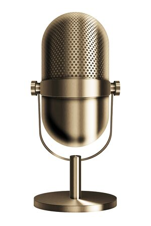 music 3d: Vintage metal golden microphone isolated on white background. 3D illustration.
