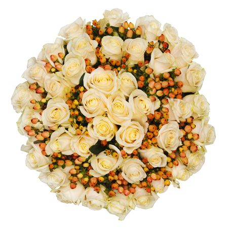 professionally: Professionally composed bridal bouquet from vintage roses isolated on white background. View from above.