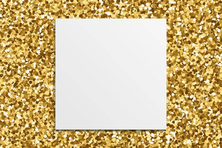 White paper on gold glitter texture background. Gilded abstract particles. Sparkle element for greeting card, website, banner or premium flyer. Vector illustration.