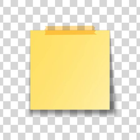 Yellow stick note isolated on transparent background. Vector illustration. Stock Photo