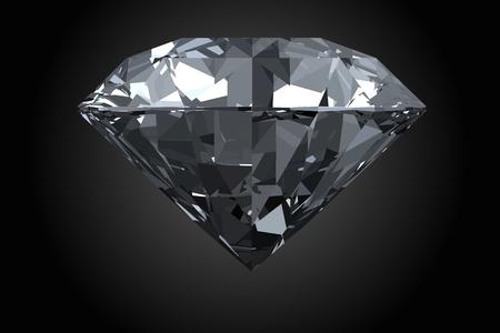 Classic, photorealistic diamond isolated on black background.