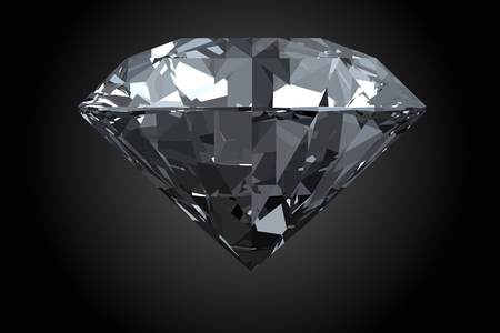 Classic, photorealistic diamond isolated on black background.
