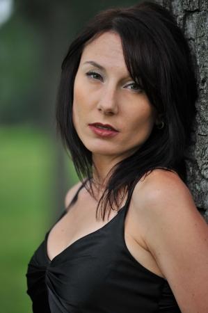gothic girl: dark haired model headshot