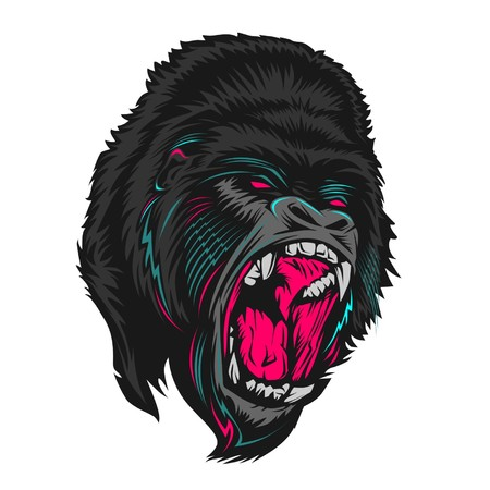 angry gorilla vector Vectores