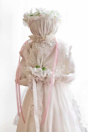 Bride. Handmade textile doll ancient culture folk crafts tradition of Ukraine. Most Popular Souvenirs From Ukraine. Stock Photo