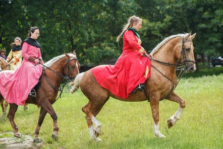 Ukraine, Lviv - July 15, 2018: Ladys in Medievals Costume on Horseback.