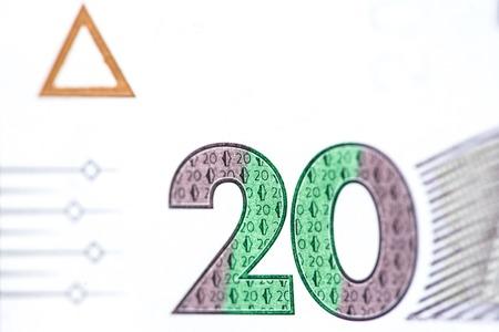 New banknote denomination of 20 UAH. Ukrainian money close up. Fragment of banknotes Reklamní fotografie