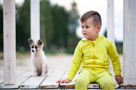 Cute little boy sitting on footbridge with his dog. Protection of animals. Child and his best four-legged friend