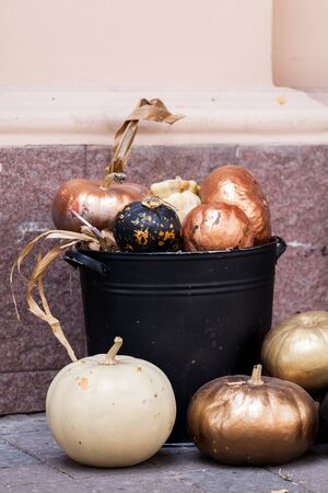 Stylish Halloween decorations. Shiny Decorative Pumpkins. Pile of random sized gold and white pumpkins