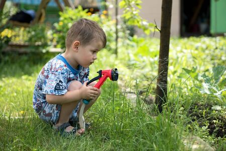 Little boy playing together with a garden hose on hot and sunny summer day, having fun outdoors