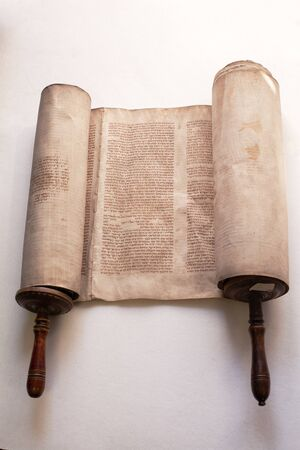 Old torah scroll book close up detail. Torah, the Jewish Holy Book.