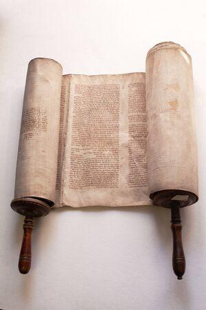 Old torah scroll book close up detail. Torah, the Jewish Holy Book. Stock Photo
