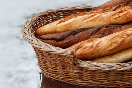 French baguettes in a wicker basket