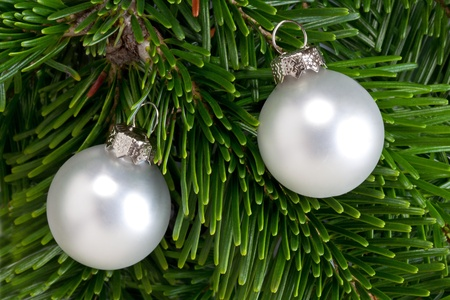 Christmas decorations on a Christmas tree branch