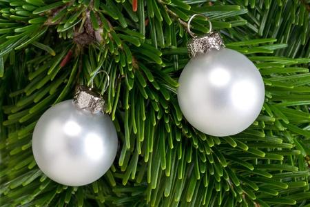 branche sapin noel: D�corations de No�l sur une branche d'arbre de No�l Banque d'images