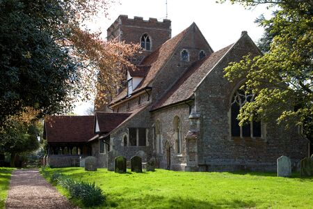 english village: A medieval English village church Stock Photo